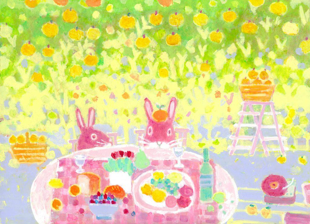 ウサギとガーデンパーティーの絵