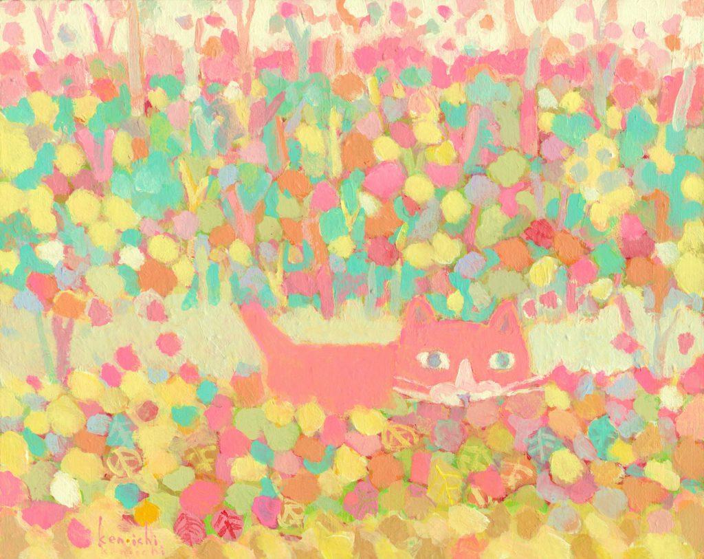 猫と散歩道の絵