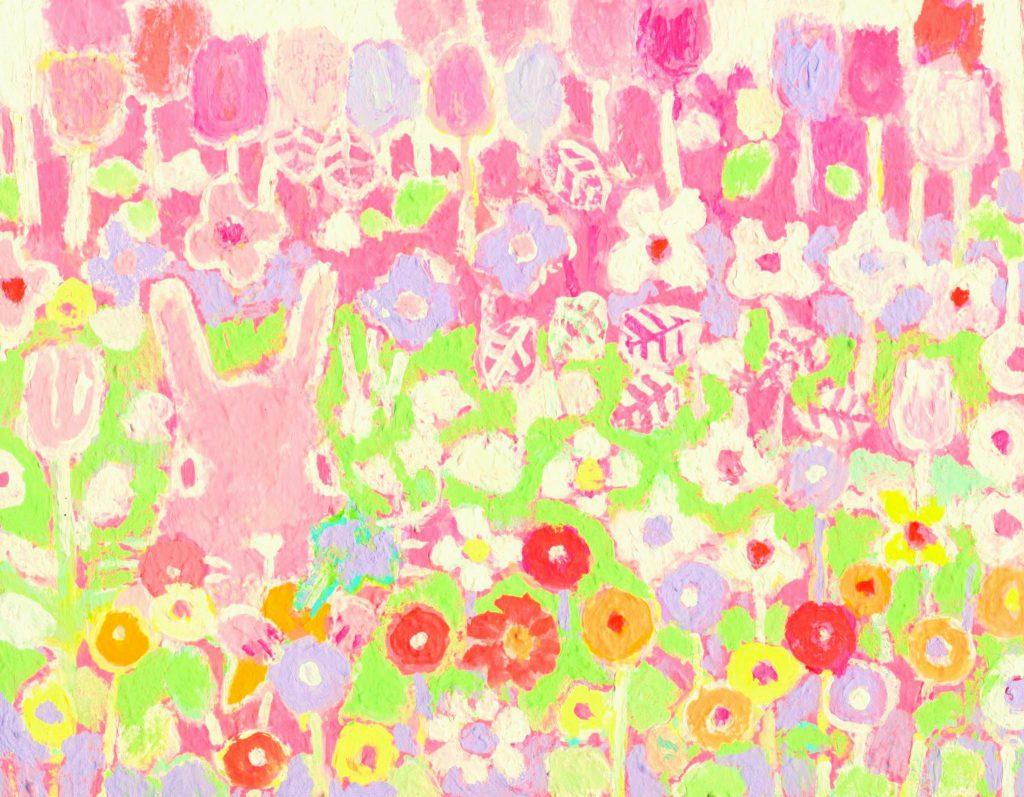 ウサギとお花畑の絵