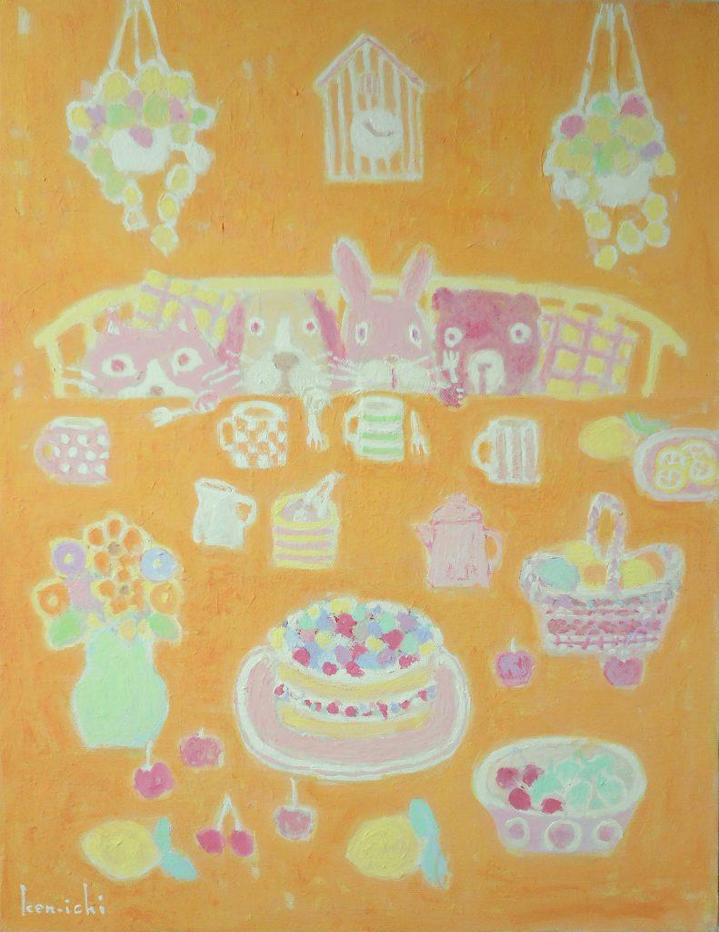 動物とケーキの絵