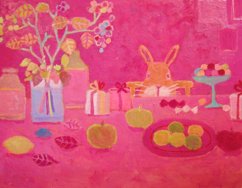 プレゼントとウサギの絵