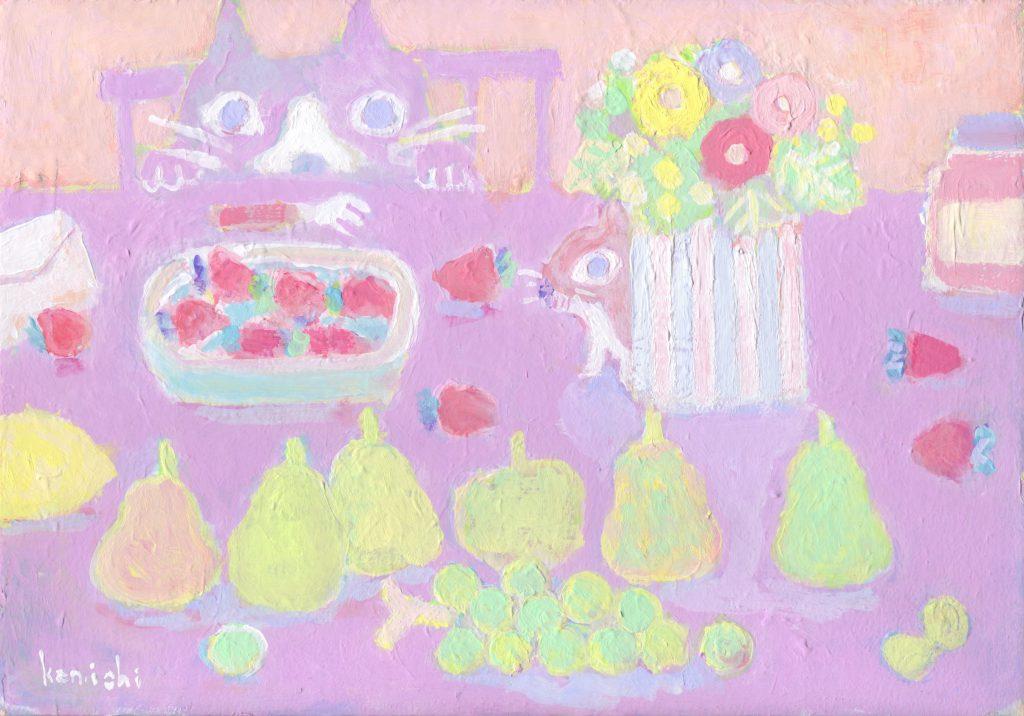 ネコとリスの食卓の絵