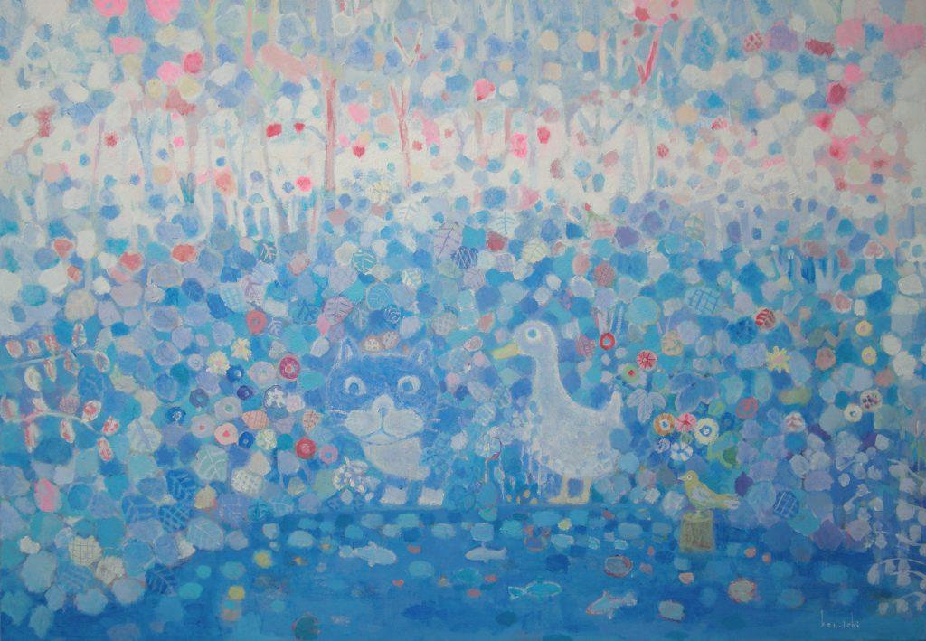 ネコとアヒルのいる池の絵