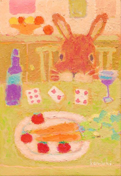 ウサギとトランプの絵