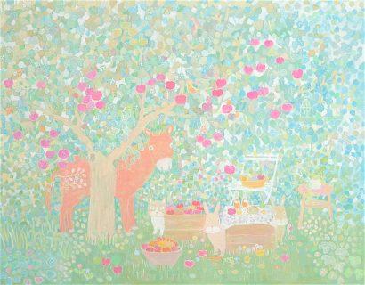 リンゴの木と動物の絵